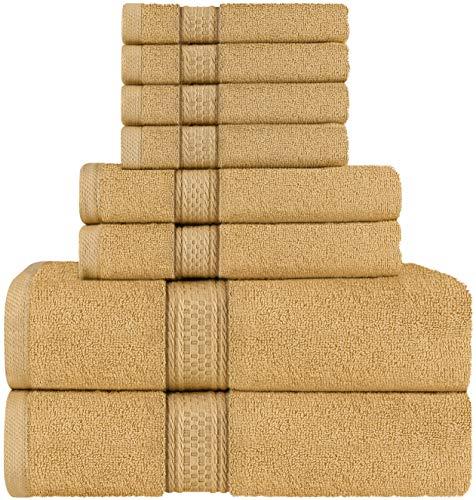 Utopia Towels - Juego de Toallas; 2 Toallas de baño, 2 Toallas de Mano y 4 toallitas - 100% Algodón (Beige)