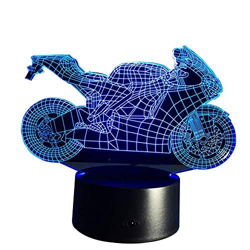 Izzya Télécommande 3D Moto Décoratif LED Lampe De Bureau- Ajustable Couleur De La Lumière 7 Couleurs- Touch Switch- Esthétique Lampe De Bureau- USB Power + Alimentation De La Batterie Cadeau De Noël
