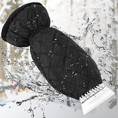 Nasharia ijskrabber met handschoen auto ijskrabber binnen velours gevoerd nooit ingevroren winterkrassen ijskrabber handschoen voor auto voorruit sneeuwschop ijskrabber