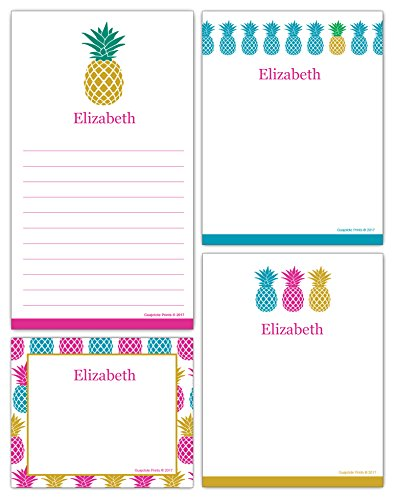 Personalized Pineapple Grocery List and Notepads Printed with Your Name or Text (4-Pack) Assorted Colors, Sizes