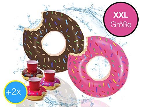 2x XXL Aufblasbarer angebissener braun + pink Donut mit Biss Schwimmring Schwimmreif Luftmatratze Schwimmkissen für Pool, mit 1x aufblasbaren Getränkehalter für Cocktails, Getränke uvm. (2er Set)