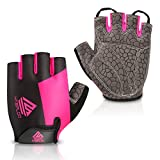HTZPLOO Bike Gloves Cycling Gloves Mountain Bike Gloves for Women with Anti-Slip Shock-Absorbing Pad,Light Weight,Nice Fit,Half Finger Biking Gloves (Pink,Small)