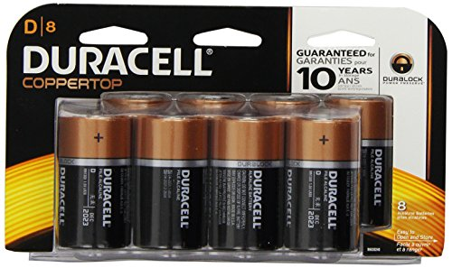 Duracell Coppertop D Alkaline Batteries, 8 Count (Pack of 2)