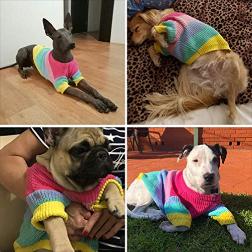 HELEVIA Regenboog Trui voor Honden Bulldog Gebreide Kleurrijke Huisdier Winter Hond Kleding Hond Pullover Jumpsuit Kostuum pak, XL, Verschillende kleuren