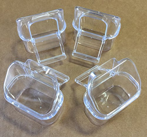 Mcage Lot of 4 Bird Cage Clear Plastic Seed Water Feeder Hood Cups