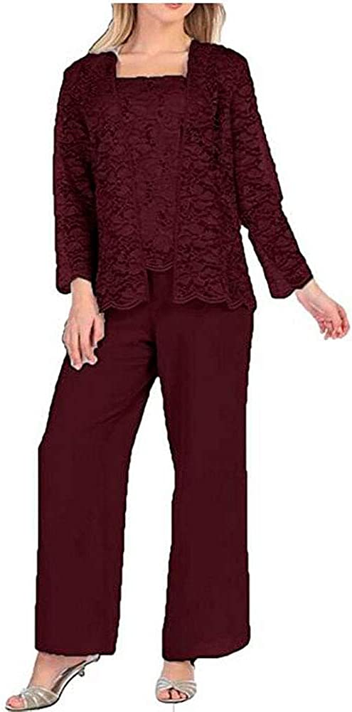 Lace Mother of The Bride Pants Suit for Wedding 3 PC Chiffon Women Outfits for Prom Evening Dress Suit