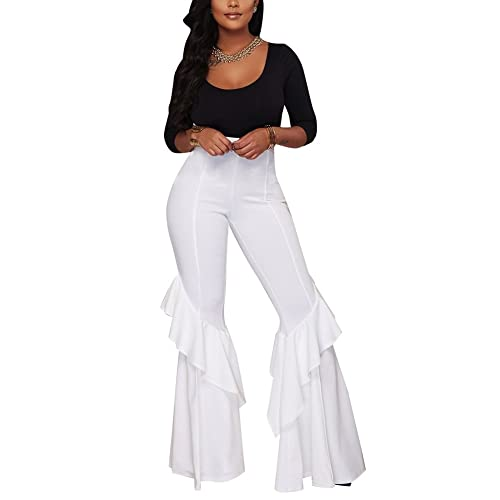 b6c88619999b48 Aro Lora Women's High Waist Ruffle Casual Party Flare Wide Leg Pants  Trousers