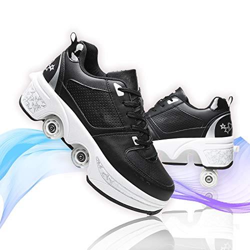 Hmlopx Deformación Cuatro Ruedas Invisible Patines De Ruedas para Chica Multifunción Ajustable Doble Fila Zapatos De Skate Calzado Deportivo Casual para Niños