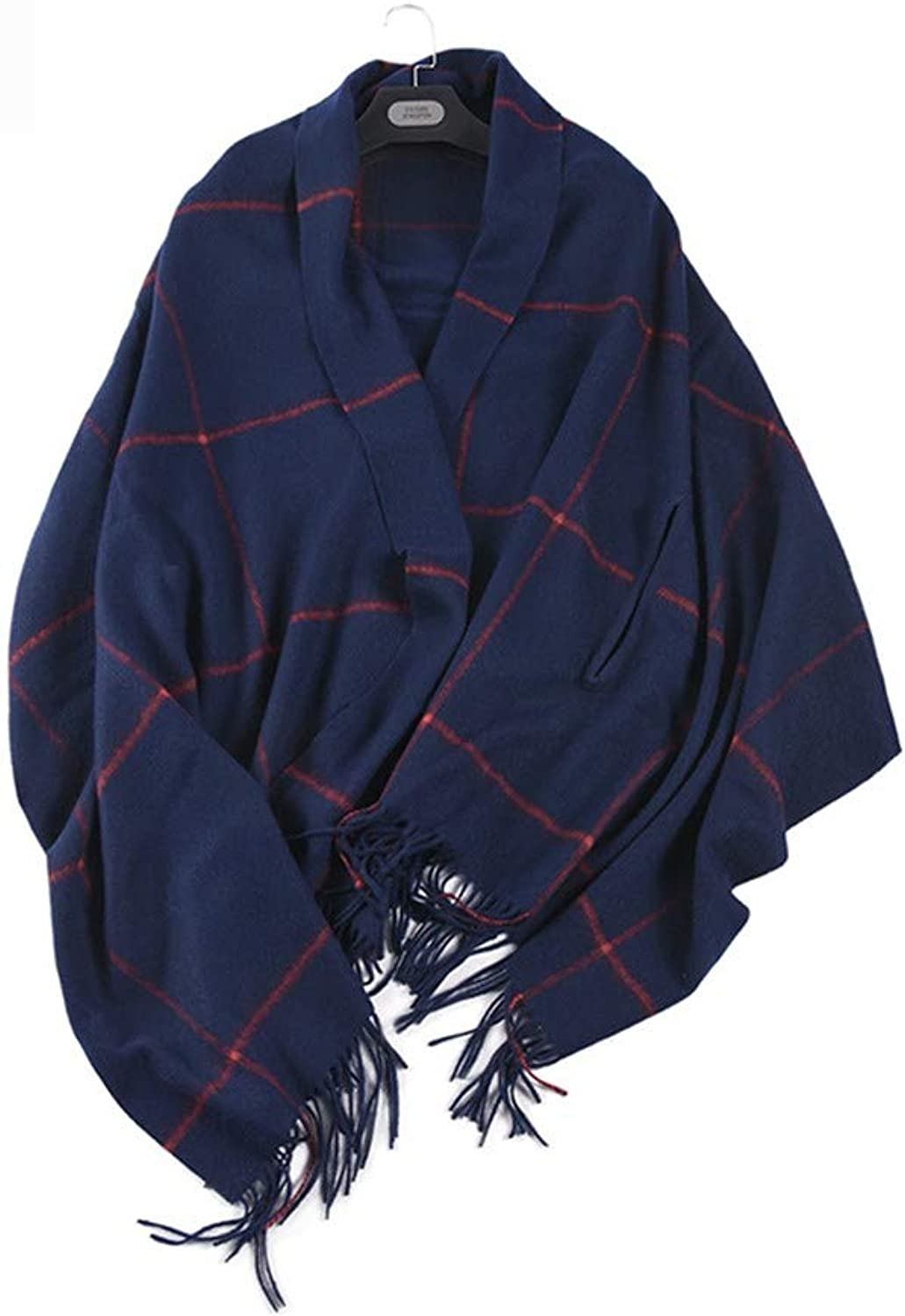 AFBLR shawl cloak Wool autumn and winter thick ladies square large shawl, Tibetan bluee