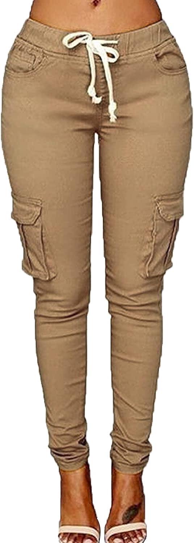 Women's Solid Color Drawstring Skinny Pants Multi Pocket Stretch Cargo Pant Ladies Slim Elastic Waist Casual Trousers (Large,Khaki 2)