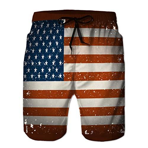 jiilwkie Pantaloncini da Spiaggia da Uomo con Stampa 3D di Tronchi di Costume da Bagno logora Bandiera Americana L
