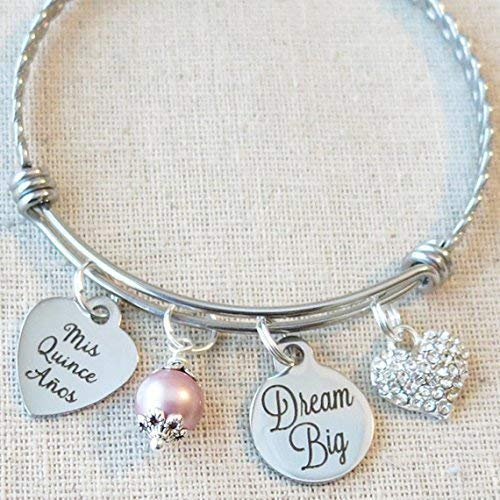 Quinceañera Bangle, 15th Birthday Gift for Teenager, Dream Big Bracelet, Mis Quince Años