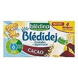 Blédina Bébé Blédidej Cereales + Contribución Vía Cocoa Flavor (De 6 Meses) 4 Ladrillos 250 Ml (Por Lotes 4 O 16 Ladrillos)