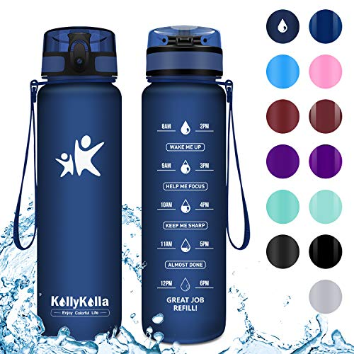 KollyKolla Botella Agua Sin BPA Deportes -800ml, Reutilizables Ecológica Tritan Plástico, Bebidas Botellas con Filtro, Marcador de Tiempo, para Bicicletas, Tapa Abatible de 1 Clic, Azul Oscuro Mate