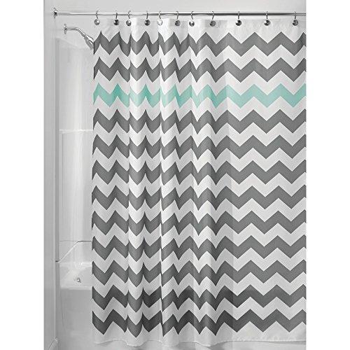 iDesign Chevron Duschvorhang Textil | leicht zu pflegener Duschvorhang aus Stoff mit verstärkten Löchern | Badewannenvorhang mit Zickzack-Muster | Polyester grau/türkis