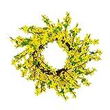 YIREAUD - Ghirlanda di fiori artificiali forsizia, 48,3 cm, motivo floreale primaverile, forsizia, per porta d'ingresso, matrimonio, decorazione per la casa