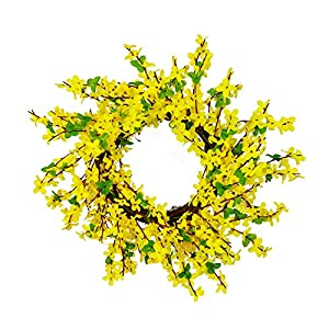 20 Inch Artificial Winter Jasmine Wreath Yellow Silk Flowers Wreath with Green Leaves Decorative Summer Spring Wreath for Home Party Wedding Decor