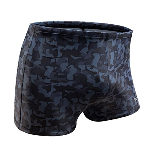 KGKE Swim Boxer Briefs Short Swim Jammer Camo Racer Mens Square Leg Swimsuit (Grey camo, M)