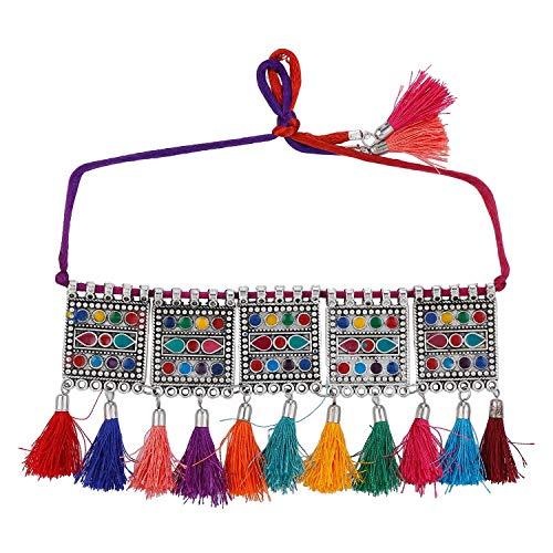 Efulgenz Boho Vintage Antique Ethnic Gypsy Tribal Indian Oxidized Silver Statement Tassel Collar Choker Jewelry Multicolor