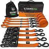 RHINO USA Ratchet Straps Tie Down Kit, 5,208 Break Strength - Includes (4) Heavy Duty 1.6' x 8'...