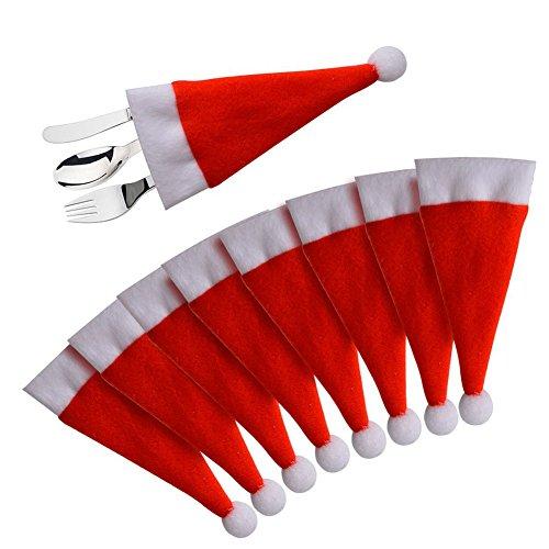 Sacchetti di Natale per la tavola di Natale sacchetti della forcella del cucchiaio della Santa cappelli mini bottiglia decorato cappelli 8 pezzi