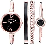 Anne Klein Women's AK/3290BKST Rose Gold-Tone Bangle Watch and Bracelet Set
