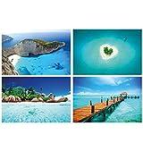 GREAT ART Juego de 4 pósteres XXL con motivos – Insulos sueños – Verano mar isla Corazón isla Zakynthos Beach Navagio – Decoración interior – Póster, 140 x 100 cm