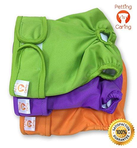 PETTING IS CARING Pañales Lavables y Reutilizables para Perros Hembra Paquete 3 Unidades Perras Calidad MÁQUINA Durable Lavable Solución Simple Mascotas INCONTINENCIA Pantalones Largos Viajes