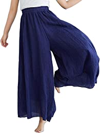 Pantalon Large Femme Palazzo Jambes Large Elastiqu