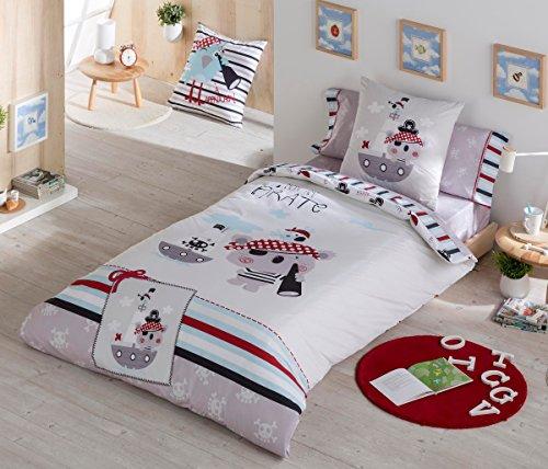 Funda Nórdica con piratas, 3 piezas, para cama de 90 cm.