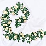 JOLIGAEA 2 Pezzi 2.2m Fiori Artificiali Ghirlanda, di Rose Artificiali Vite Finta Fiori con Foglie di Edera Verde per Casa, Matrimoni, Giardini, Feste di Compleanno e Decorazioni Varie, Champagne