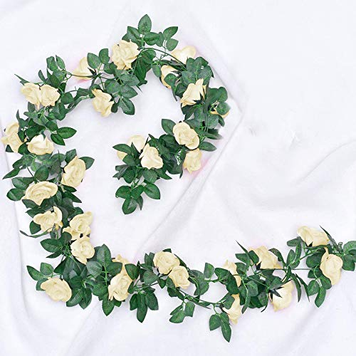 JOLIGAEA 2 Piezas de Rosas Artificiales, Guirnalda de Flores de Vid de Rosa Falsa de 220cm Artificiales Flores para Colgar en la decoración del Arco de la Oficina en casa de la Boda (champán)