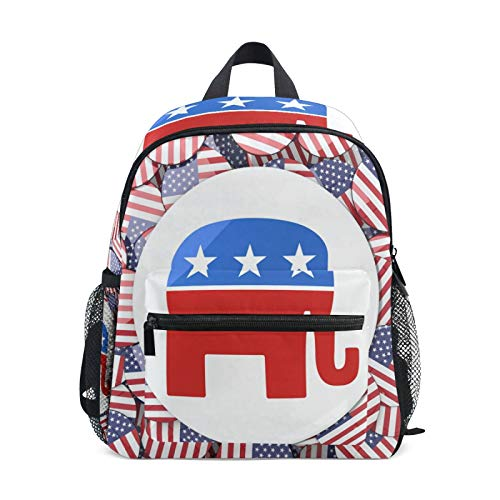 Backpack for Boys and Girls Mini Backpack Travel Bag with Chest Clip American Flag Elephant Badge