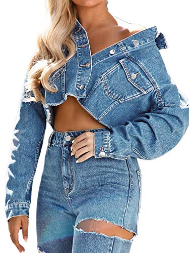 just quella Women Oversized Cropped Jean Jacket Distressed Raw Edge Denim Jacket (M, Blue Washed)