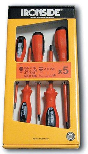 Ironside M261093 - Destornilladores 5 pzas boca plana x4 + boca phillips x1 electricista