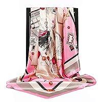 スカーフ シルクスカーフ女性スクエアヘッドスカーフレディースショールラップマフラーパレオバンダナ女性シフォンハイジャブポンチョウールスカーフスカーフ 暖かいスカーフ (Color : 49, Size : 90X90cm)