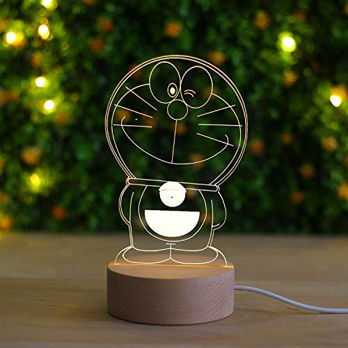 Doraemon Nachtlicht Massivholz 3D Dingdong Katze Tischlampe Kinderzimmer Dekoration Schlafzimmer Nachttischlampe-Fernbedienung + Fernbedienungsschalter_Schielen Ein Traum