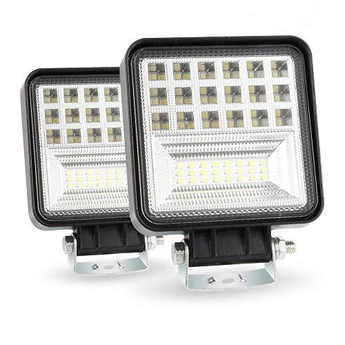 126W LEDワークライト CREE製 作業灯 2個セット狭角 広角兼用 投光 集光タイプ 6500K IP68防水・防塵・耐衝撃・長寿命 42連10-30VDC対応 12V/24V兼用(2年保証)