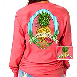 Southern Attitude Pineapple Bright Coral Long Sleeve Shirt