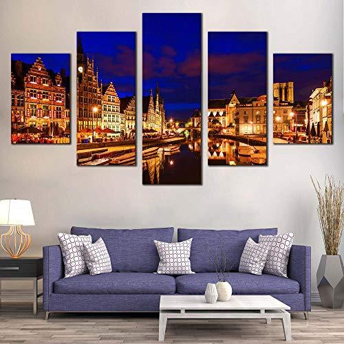 GSDFSD Prints On Canvas Artwork Harbors City Graslei Belgium Blue Cloudy Sky Paintings Wall Art Living Room Pictures 5 piece canvas wall art Canvas Modern Home Decor 30x80cmx1, 30x40cmx2, 30x60cmx2