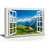 wall26 - Canvas Wall Art - Window Peering into a Beautiful Mountain Range with Clouds - Giclee Print Gallery Wrap Modern Home Art Ready to Hang - 32x48 inches