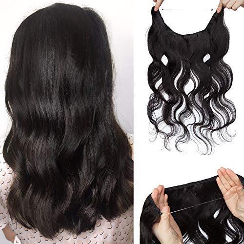 (40-60cm) Extension Capelli Veri Filo Invisibile Capelli Ricci 65g Extension con Filo Trasparente 45cm Remy Human Hair - 1B Nero Naturale