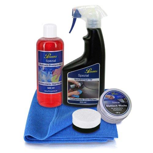 Spezial Mattlack-Pflege Set mit Matt Lack-Shampoo, Reiniger und Wachs, von Petzoldts
