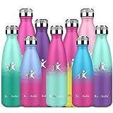 KollyKolla Botella de Agua Acero Inoxidable, Termo Sin BPA Ecológica, Botellas Termica Reutilizable Frascos Térmicos para Niños & Adultos, Deporte, Oficina, (350ml Barbie Rosado + Macaron Verde)