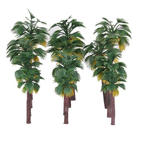 Pixnor - Modellini di palme in plastica layout foresta pluviale scenario diorami, 12 pezzi