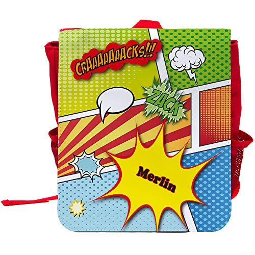 Kinder-Rucksack mit Namen Merlin und schönem Comic-Motiv | Rucksack | Backpack
