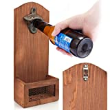 Wall Mounted Bottle Opener - with Cap Catcher Vintage Wooden Beer Bottle Opener Easy to Install for Men and Beer Lovers Bar Kitchen Best Gift for Father and Friend