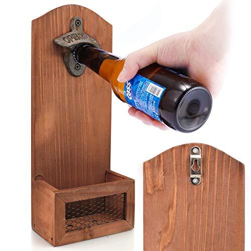 Abrebotellas Montado en la Pared de Madera del Vintage Abrelatas Colgante y Tenedor de la Tapa Diseño de Cerveza Botella Abridor Buen Regalo Amantes de la Cervezause para Padre y Amigos12 x 7