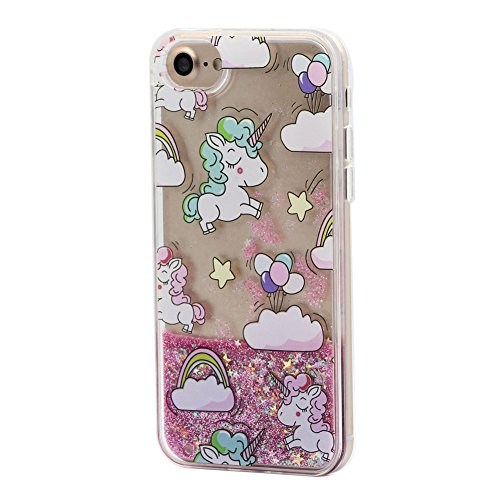 Keyihan iPhone 6 / 6S Custodia per Ragazza Stile Rosa Carina Bello Disegno Flowing Liquido Scintillio Sabbie Mobili Protettiva Cover Caso con Bordo Morbido per Apple iPhone 6 6S (Rainbow Unicorno)