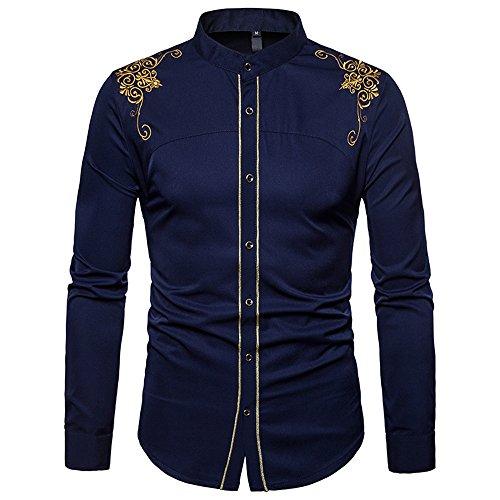 BaronHong Slim Fit Manga Larga de los Hombres del Palacio de Bordado Vestido Camisa Casual (Azul Oscuro, S)